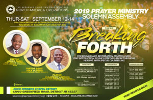 2019 Prayer Ministry Solemn Assembly @ RCCG Winners Chapel Detroit